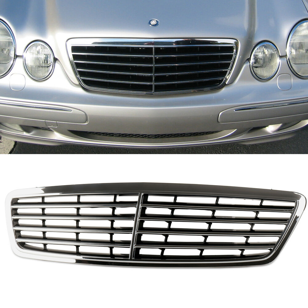 Chrome gloss black front grille for mercedes benz w203 for Mercedes benz grille