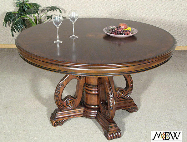 52in round mahogany inlaid round pedestal dining table ebay for Round table 52 nordenham