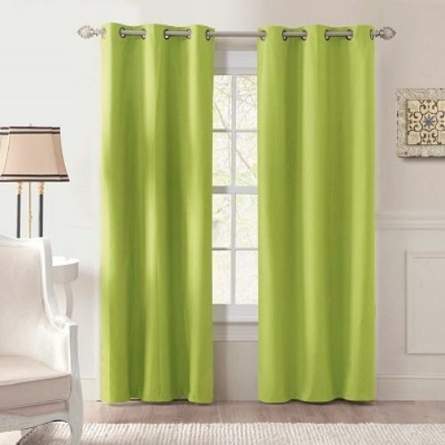 2 Pc Blackout Thermal Grommet Lime Green Window Curtain