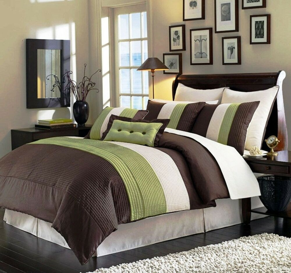 8 piece luxury pintuck pleated stripe green brown and - Green and brown comforter ...