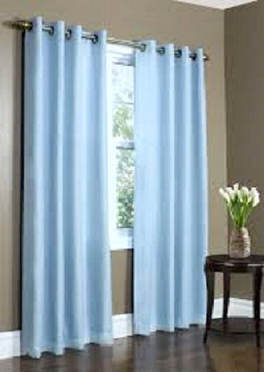 2 PANELS LIGHT BLUE LINED THERMAL BLACKOUT GROMMET WINDOW ...