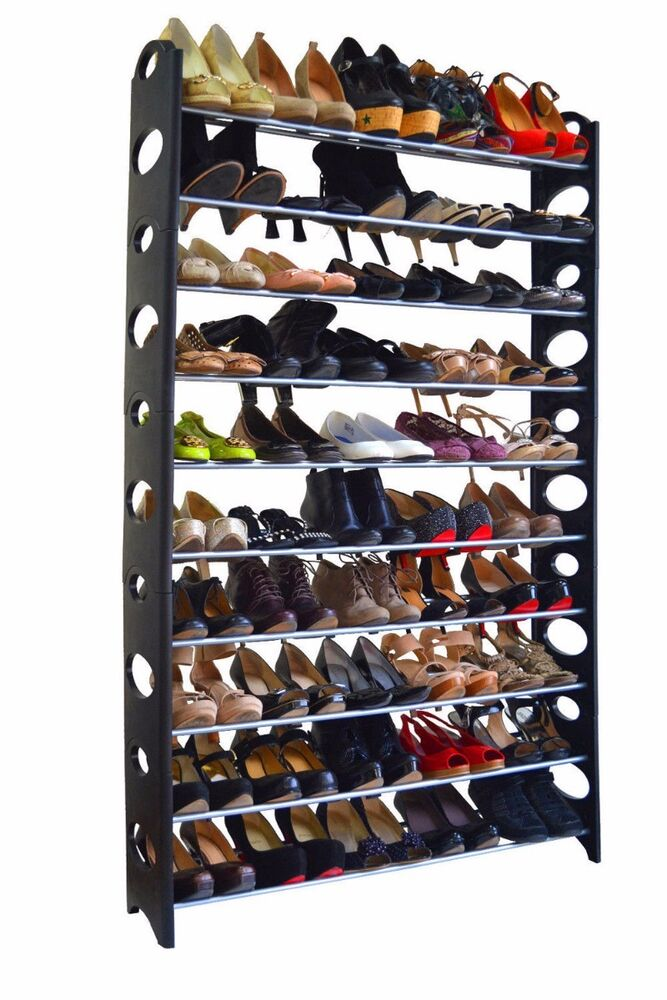 50 pair 10 tier space saving storage organizer free standing shoe tower rack ebay. Black Bedroom Furniture Sets. Home Design Ideas