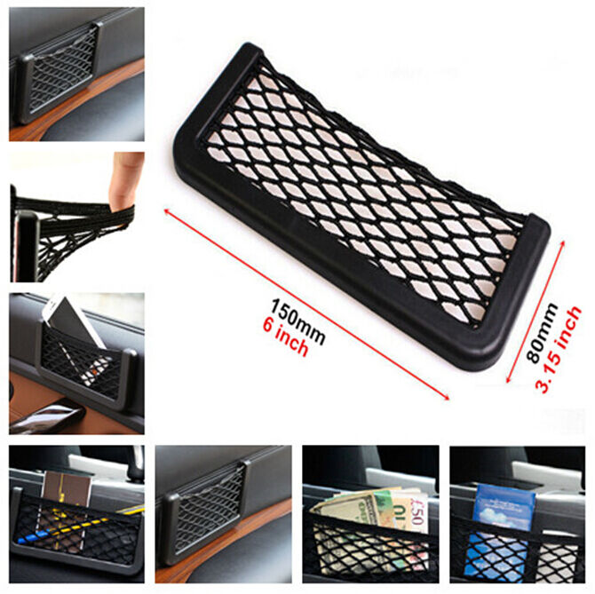 universal car dash board net pouch storage mount holder for cell phone gps card ebay. Black Bedroom Furniture Sets. Home Design Ideas
