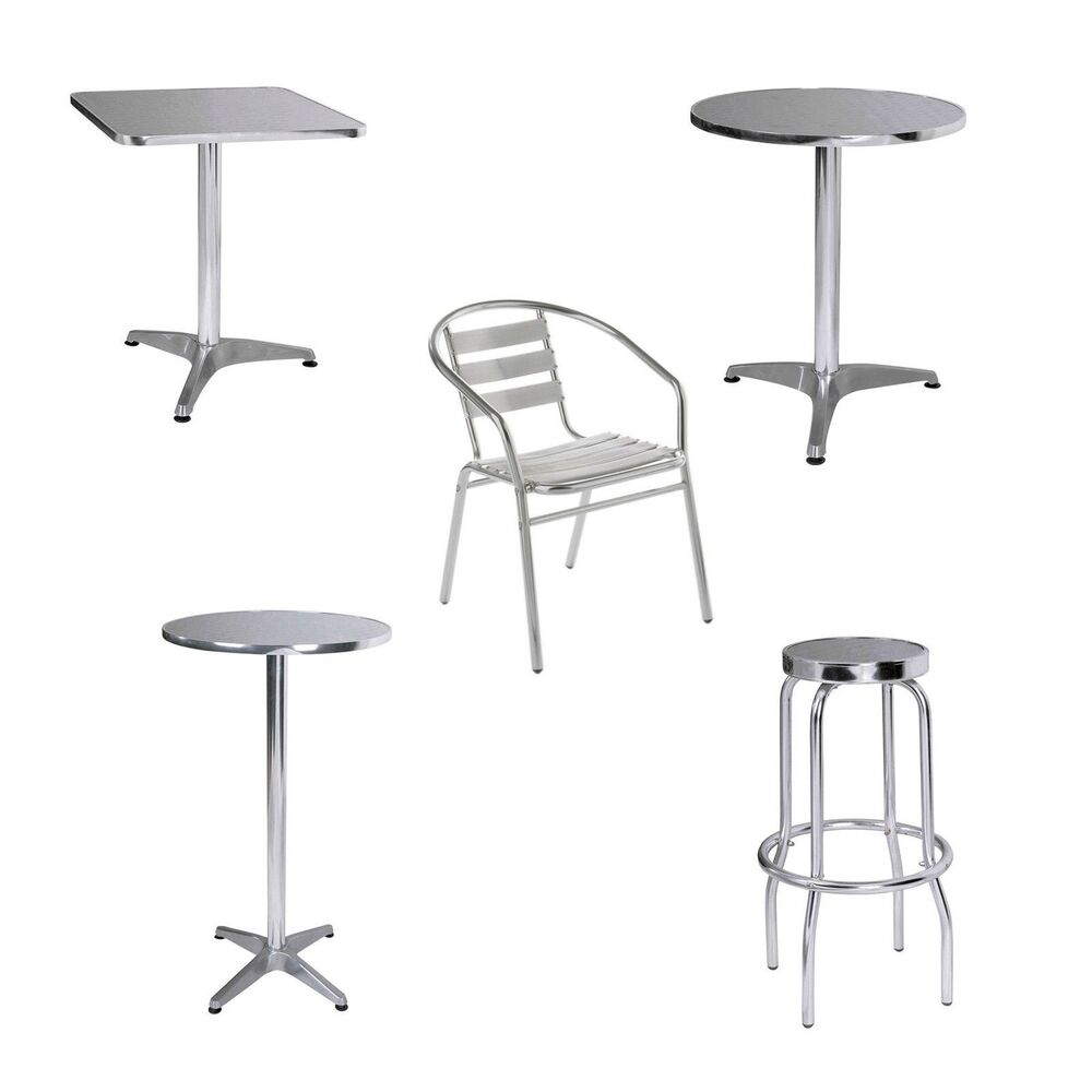 home office aluminium bistro rounded square and bar tables stool chair new ebay. Black Bedroom Furniture Sets. Home Design Ideas
