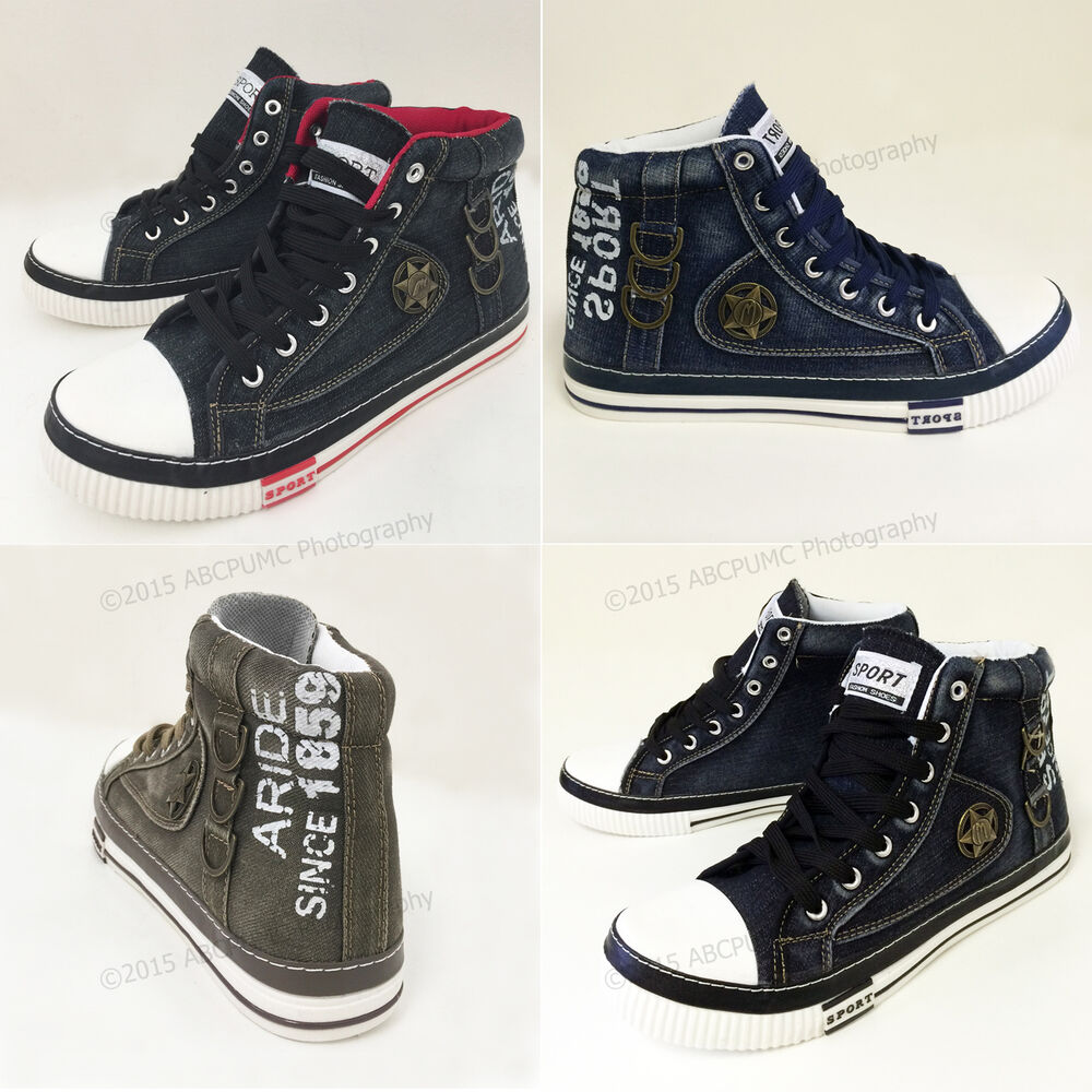 Mens Jeans Sneakers Canvas Denim Casual High-Top Shoes Stone-Washed Boots Sizes | eBay