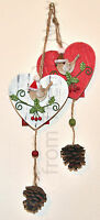 Chic Shabby Hanging Wooden Robin Heart Decoration Pine Cone Xmas Christmas