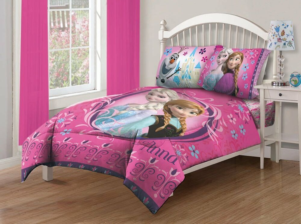 4 Pieces Disney Frozen Anna +Elsa Pink Bedding Comforter