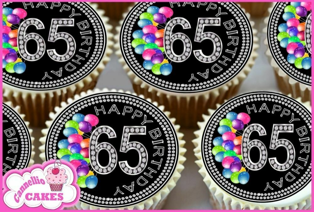 24 X 65TH BIRTHDAY EDIBLE CUPCAKE TOPPERS RICE CAKE PREMIUM PAPER 9144