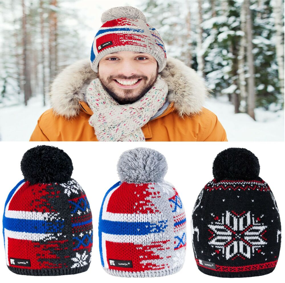 9af91adf0f0 Unisex Beanie Hat Winter WOOL Baggy Knitted NORDIC Xmas Gift Ski Snowboard  Merry
