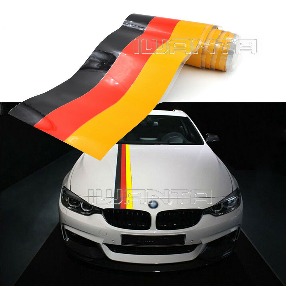 1 5m Germany Flag Stripe Car Hood Vinyl Sticker Decal For