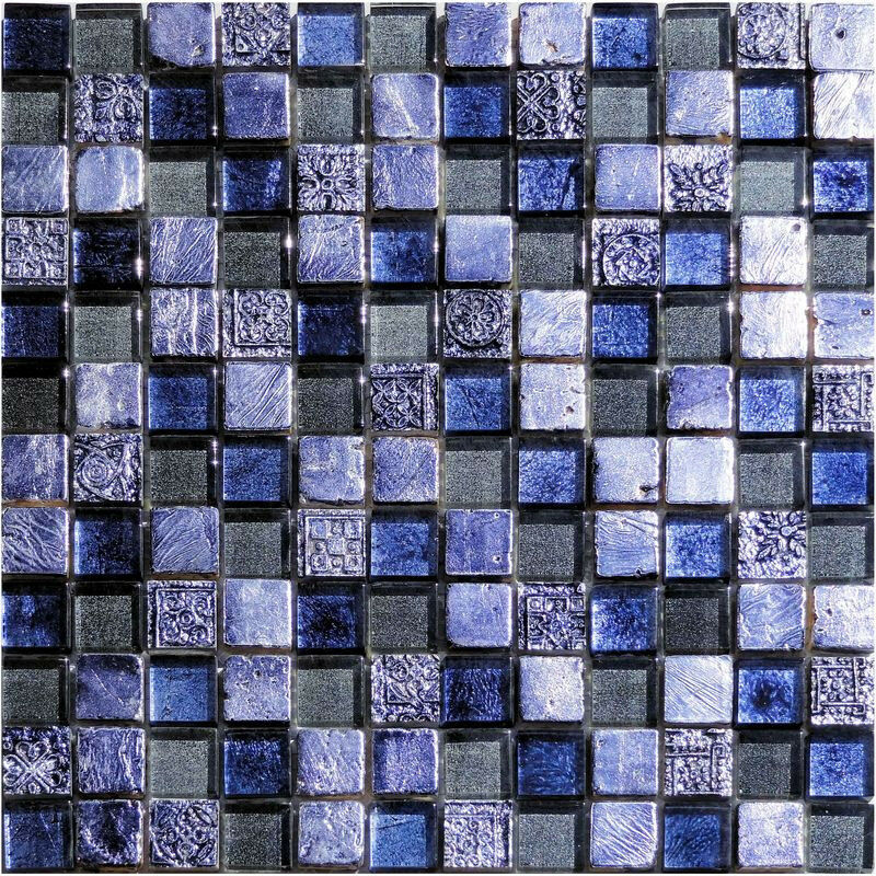 1 netz replica mosaik metallic blau glas stein mosaik. Black Bedroom Furniture Sets. Home Design Ideas