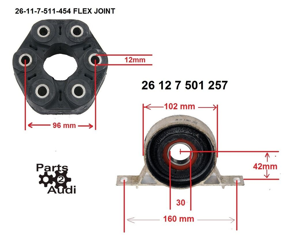Driveshaft Center Carrier Support Bearing Flex Disc Joint