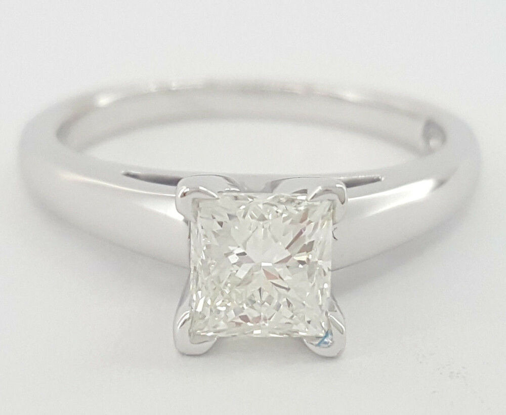 1 ct 14K & Plat Leo Princess Diamond Solitaire Engagement Ring I VS2 Rtl