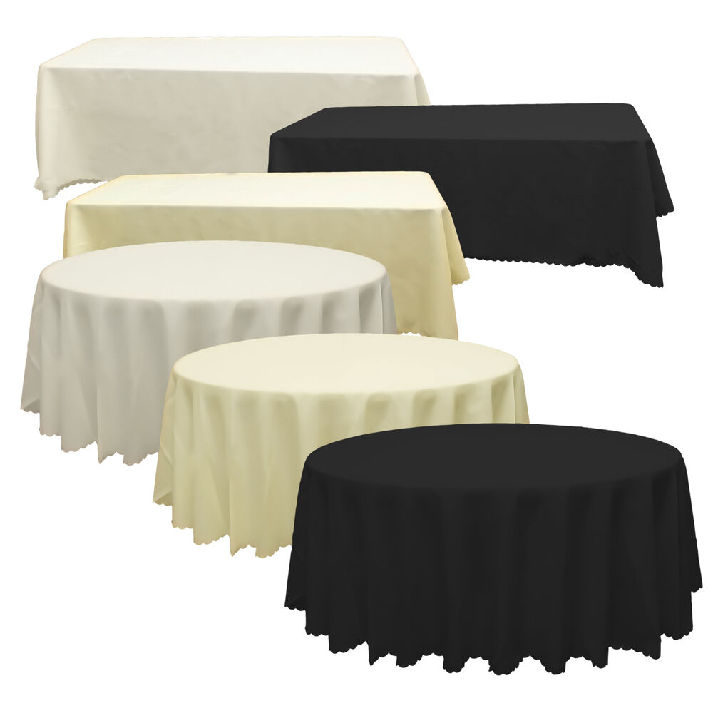 White Black Ivory Polyester Tablecloth Table Cover Cloth