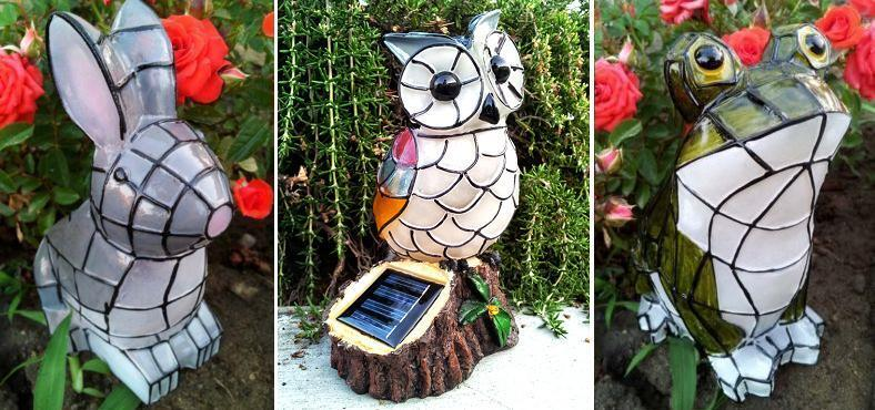 4 Outdoor Garden Decor Solar Animal Bunny Frog Owl Mosaic