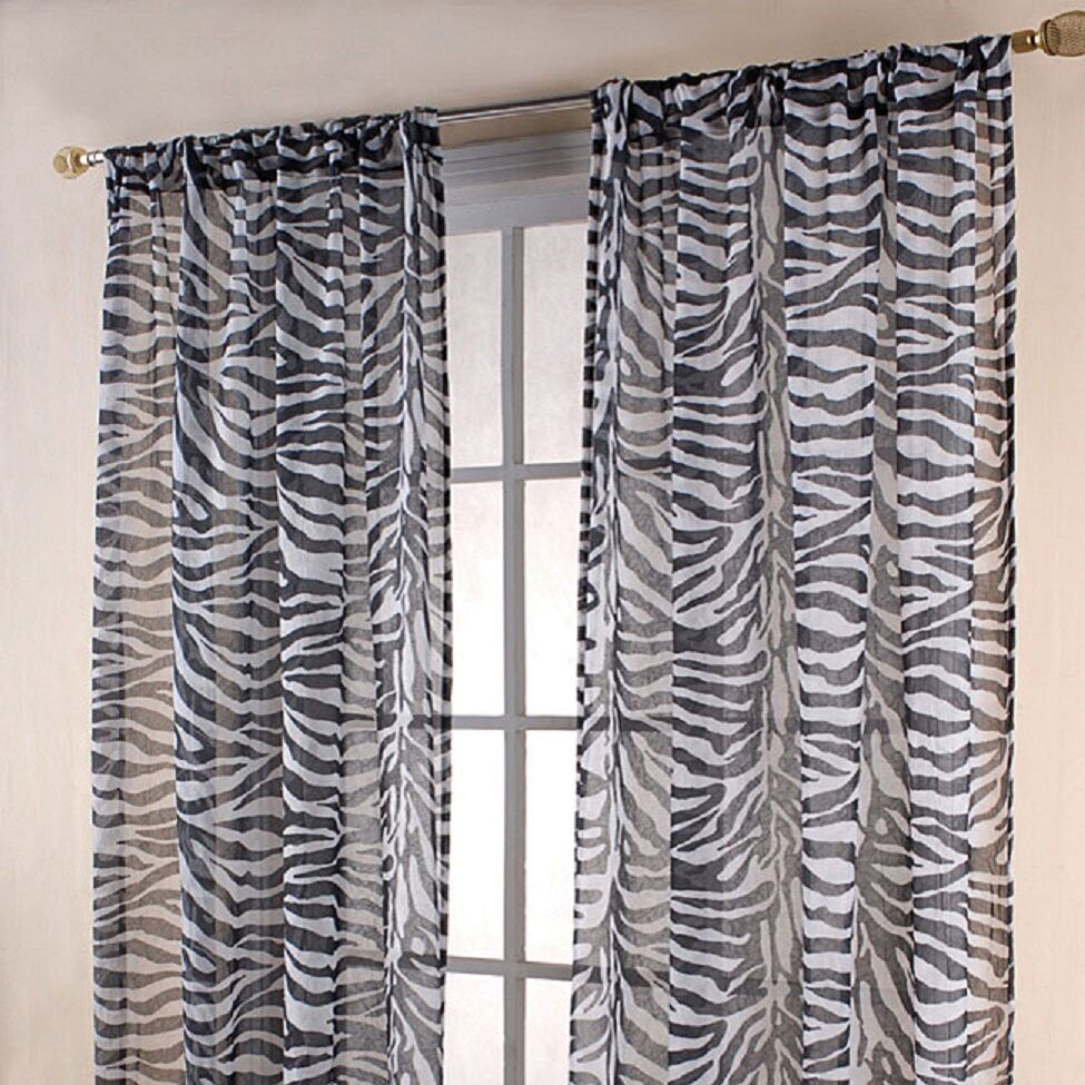 Sheer scarf window treatments curtains drape valances 63 for Animal print window treatments