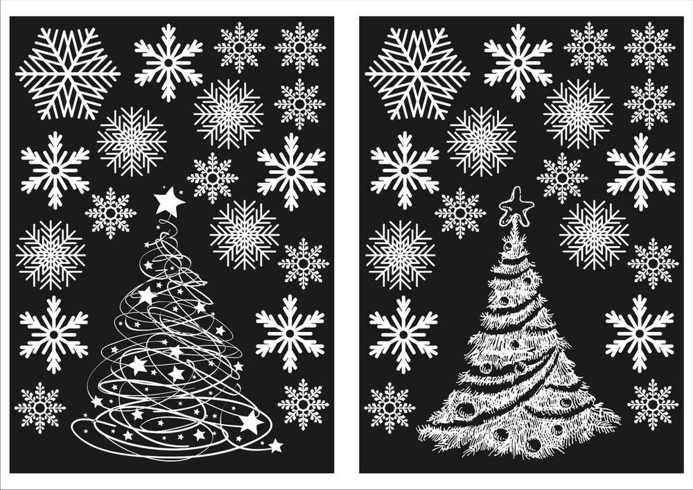 2 christmas trees and 36 snowflake window stickers for Sticker fenetre noel