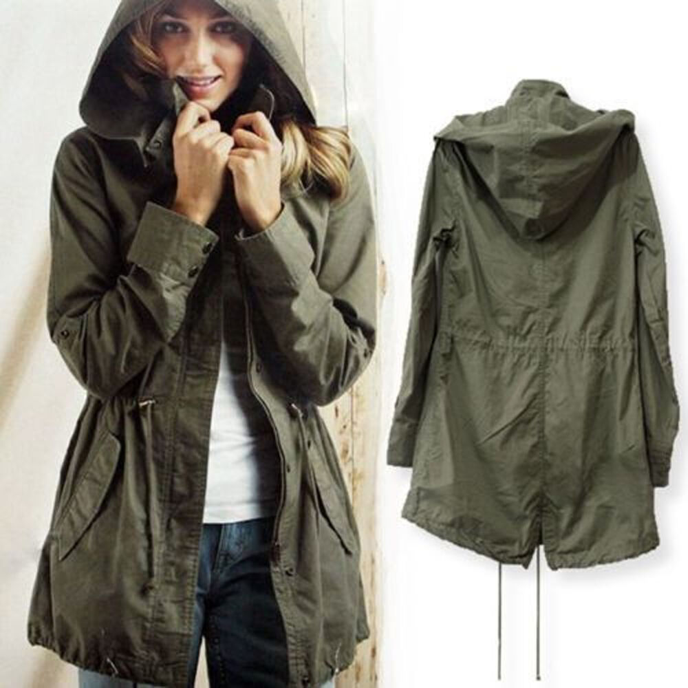 Women's Hooded Outwear Cotton Military Jacket Trench Parka ...