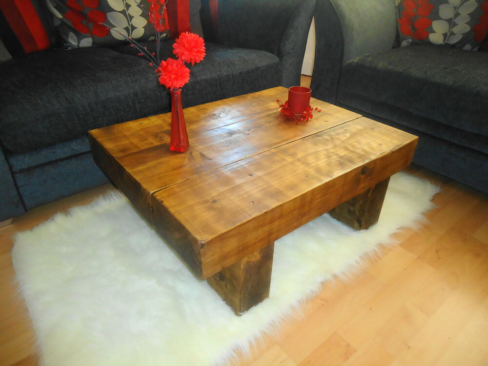 Solid Pine Wood Coffee Table Chunky Rustic Plank Modern Ebay