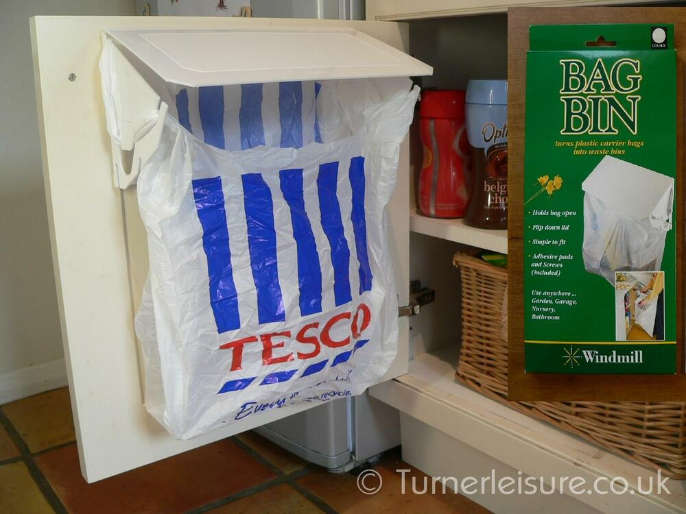 Kitchen Waste Basket Holder: Carrier Bag Bin Holder Plastic Bags To Rubbish Bag In