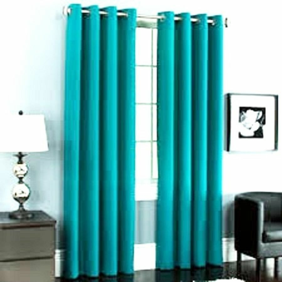2 Turqiouse Panels Silk Thermal Lined Blackout Grommet Window Curtain K32 84 Ebay