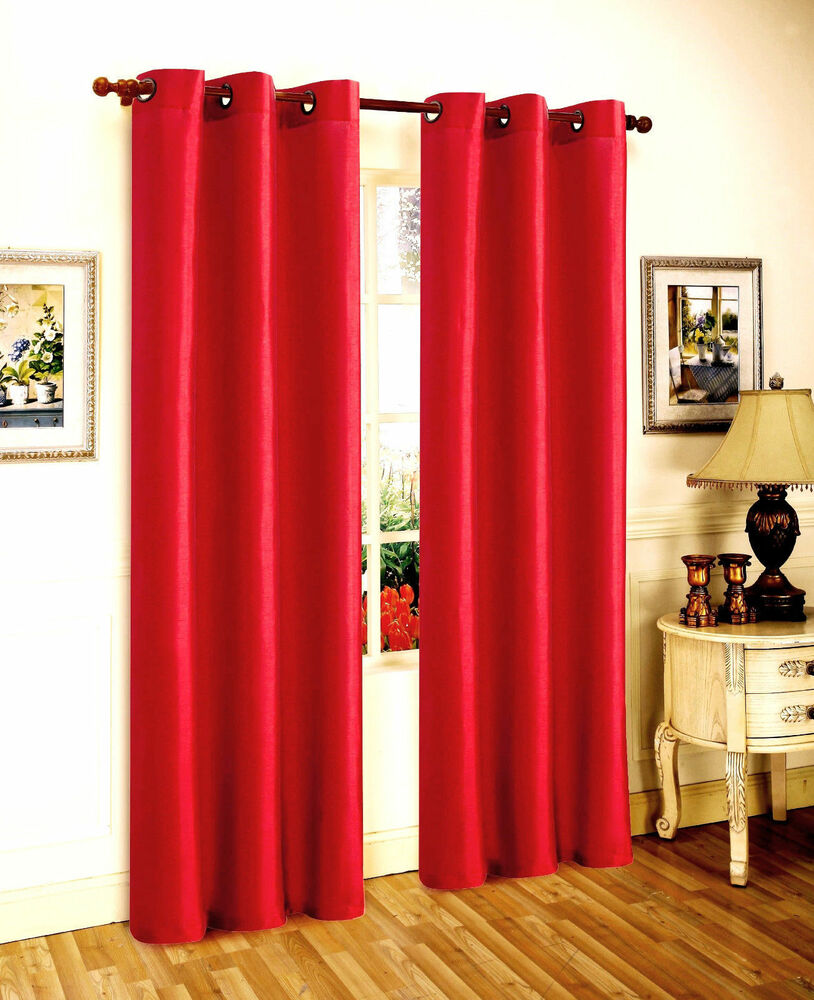 2 BRIGHT RED PANELS SILK THERMAL LINED BLACKOUT GROMMET