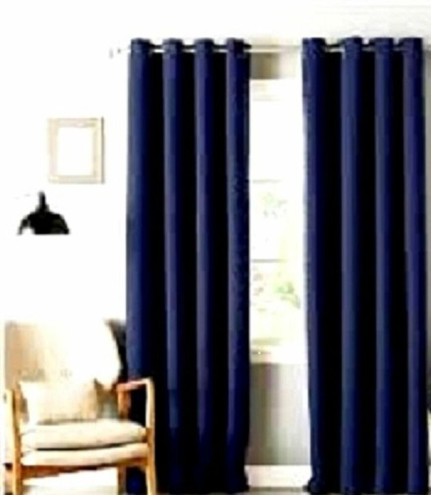 2 Navy Blue Panels Silk Thermal Lined Blackout Grommet