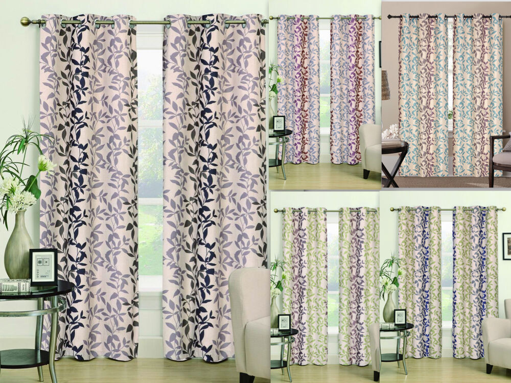 2 Pc Heavy Linen Leaf Embroidered Grommet Curtain Panels