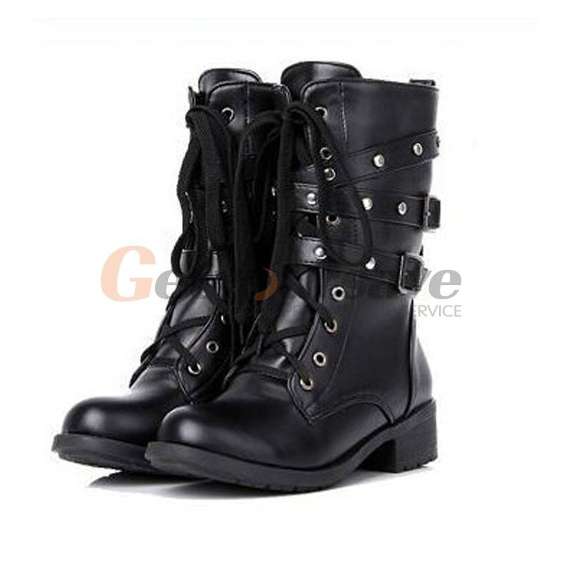 Women military combat boot motorcycle riding lace buckle soda shoes 5