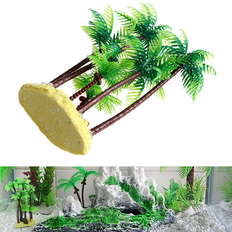 Yellow Beach & Palm Tree Plastic Plant Aquarium Ornament ...