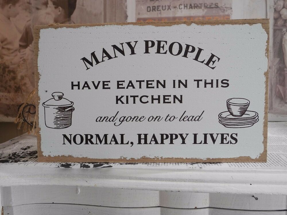kitchen k che shabby chic holzschild schild schrift spruch schriftzug wei ebay. Black Bedroom Furniture Sets. Home Design Ideas
