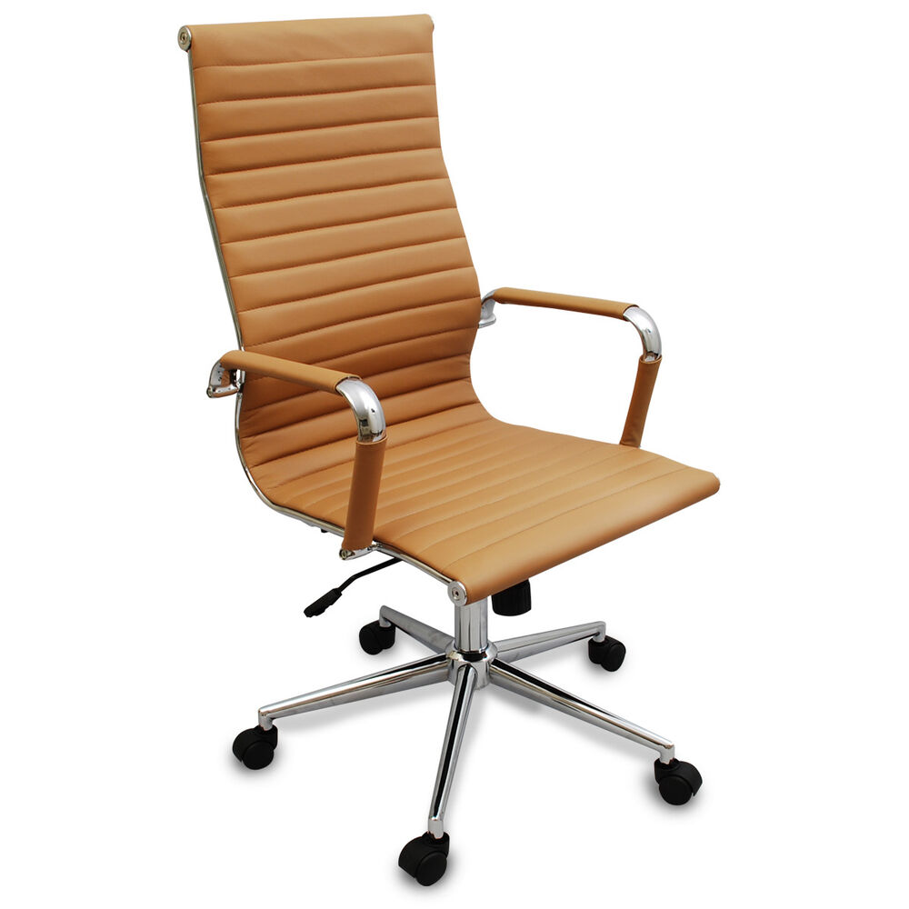 Modern Office Desk: New Tan Modern Executive Ergonomic Ribbed High Back