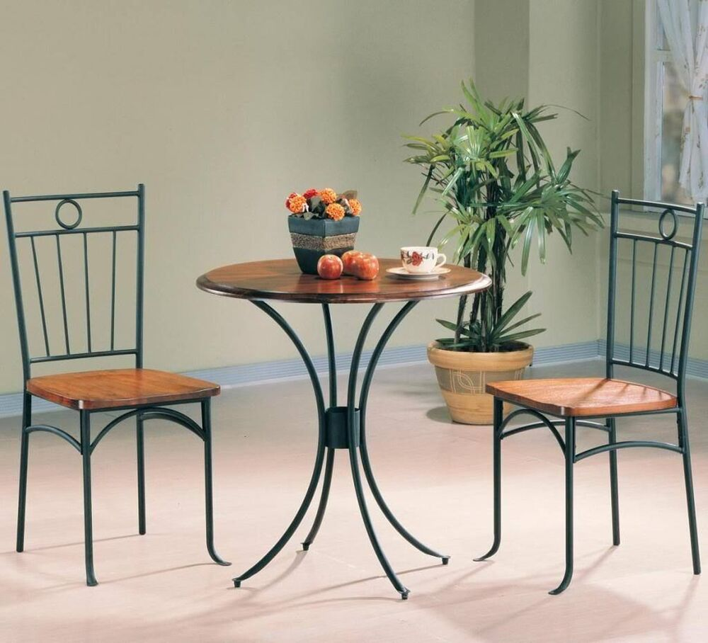 3 Piece Black Metal And Wood Oak Finish Bistro Dining