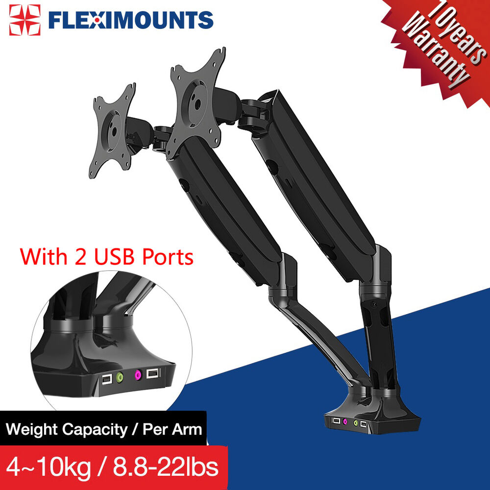 Dual Arm Monitor Mount Desk Lcd Arm Stand W Usb Ports 10