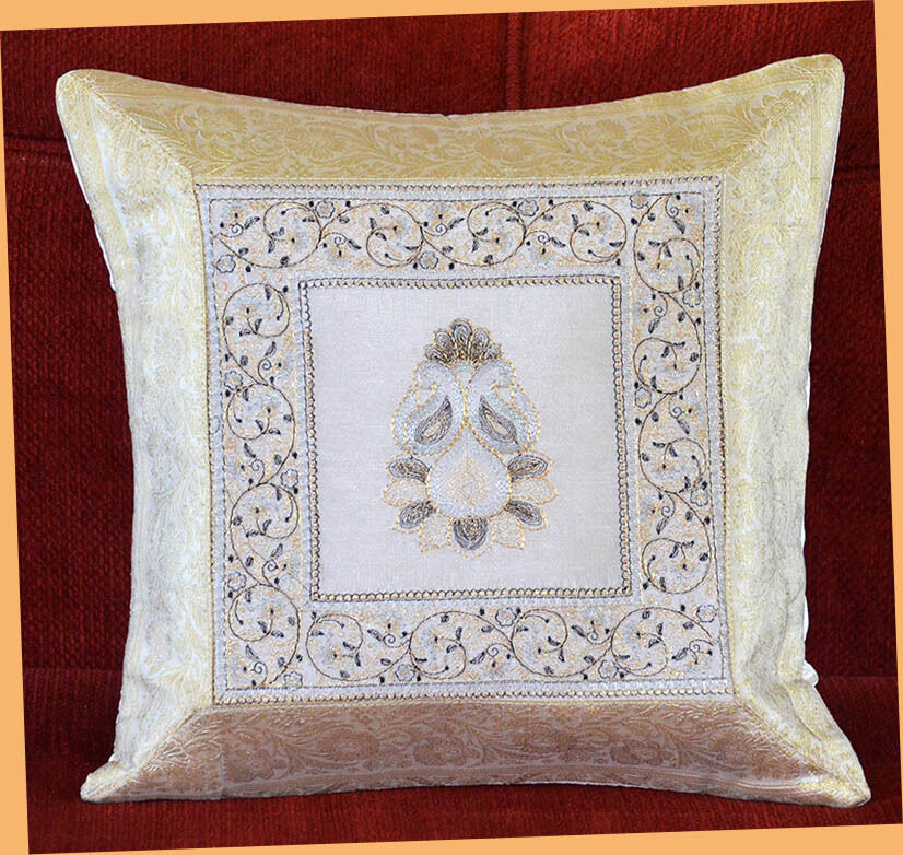 White Silk Embroidery Brocade Pillow Cover Cushion Cover