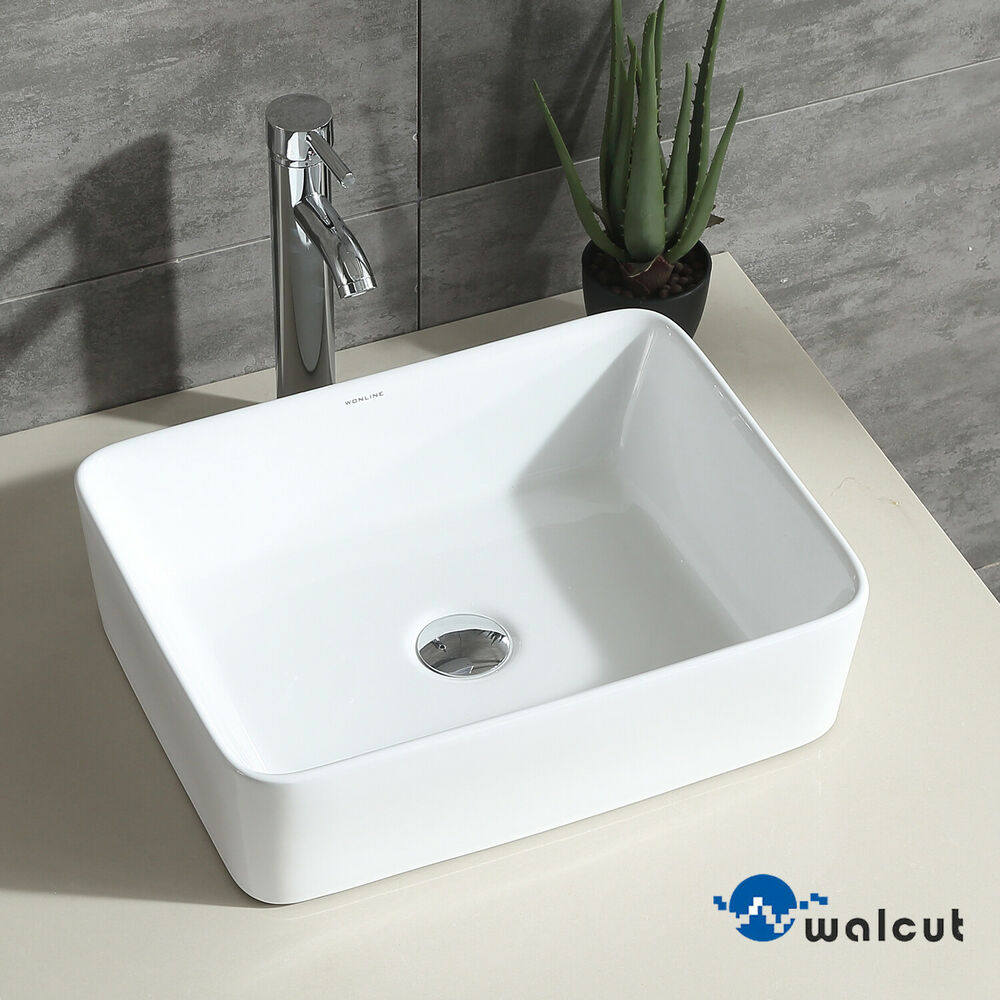 Bathroom Ceramic Vessel Sink Porcelain Bowl Basin Combo