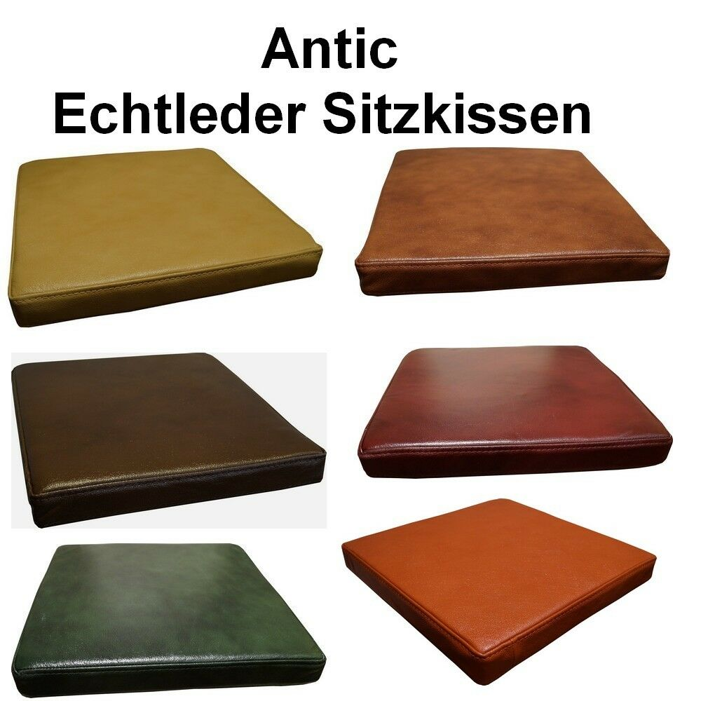 antic echt leder stuhl sitzkissen lederkissen rindsleder sessel sitzpolster ebay. Black Bedroom Furniture Sets. Home Design Ideas