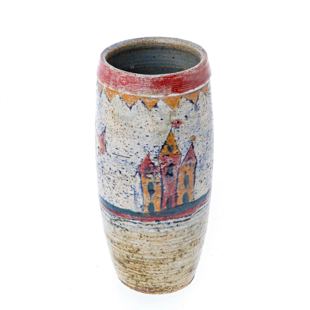 Decorative flower vase hand painted ceramic home art d cor 9 tall ebay - Great decorative flower vase designs ...