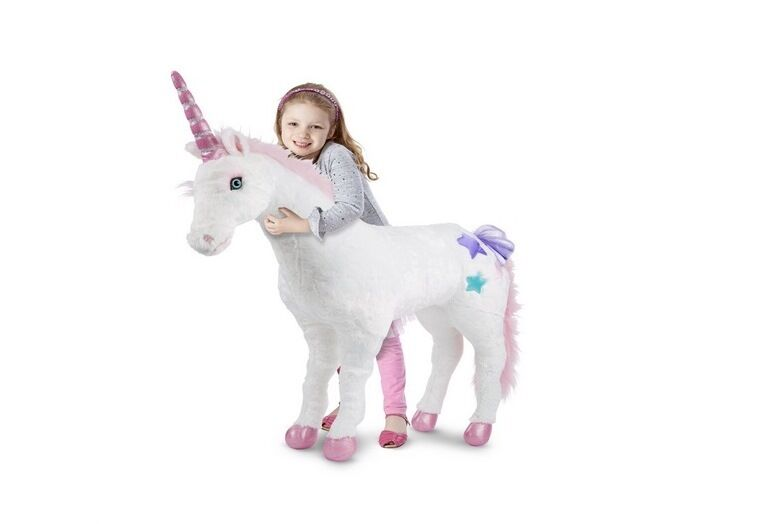 New Large White Plush Unicorn Stuffed Animal Toy Pink Soft