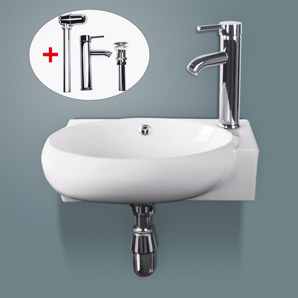 Bathroom Ceramic Vessel Sink Wall Mount Faucet On Right