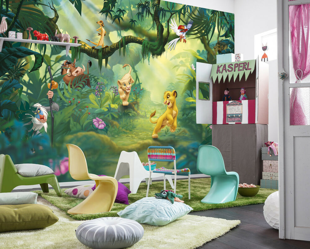 lion king wall mural photo wallpaper for kids baby room 368x254cm disney decor ebay. Black Bedroom Furniture Sets. Home Design Ideas