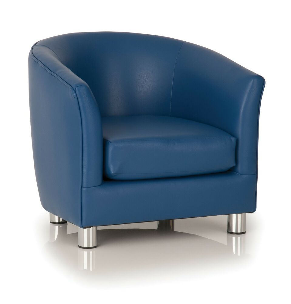 Deluxe Blue Tub Chair Bucket Armchair Office Lounge