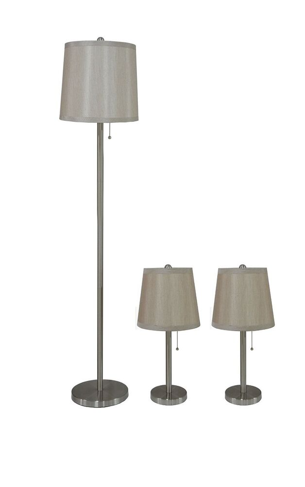 3 piece table floor lamp set in brushed nickel with for Floor and table lamp set uk