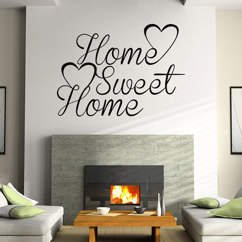 home sweet home mural quote words removable wall sticker vinyl decal home decor ebay. Black Bedroom Furniture Sets. Home Design Ideas
