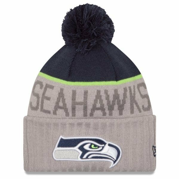New Era 174 Adult Seattle Seahawks Cuffed Gray Sport Knit Pom