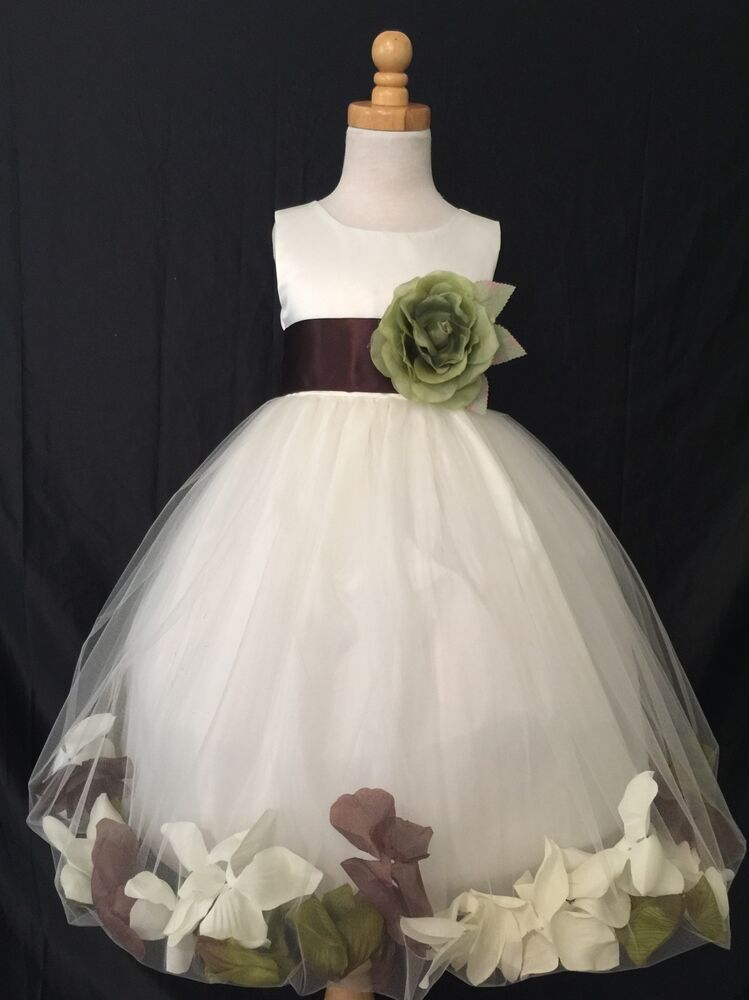 ivory flower girl bridesmaids mixed petal fall wedding toddler girl dress 24 ebay. Black Bedroom Furniture Sets. Home Design Ideas
