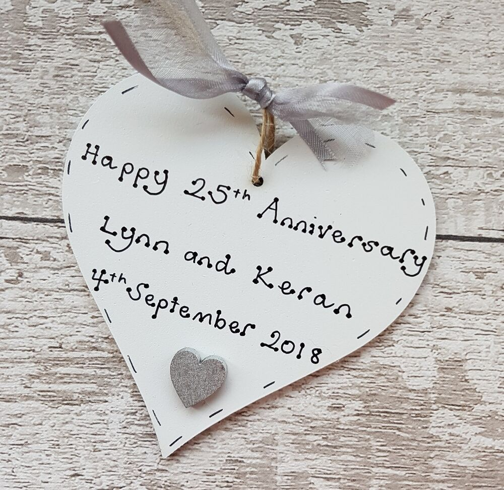 Personalised Wooden Heart Wedding Gift : personalised handmade silver/25th wedding anniversary wooden heart ...