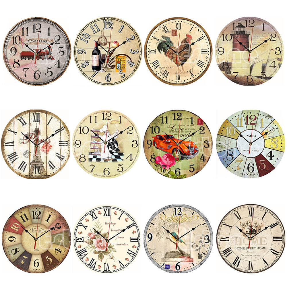 Large Vintage Rustic Wooden Wall Clock Kitchen Antique ...