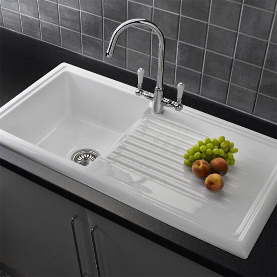 White Single Bowl Kitchen Sink : Reginox RL304CW White Ceramic Single Bowl Kitchen Sink eBay