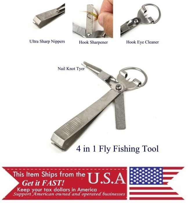 Fly fishing multi tool hook sharpener line cutter knot for Fishing multi tool